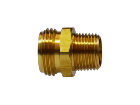 "Garden Hose Fitting - Rigid - 3/4"" Male GHT x 1/2"" Male Pipe - Brass"