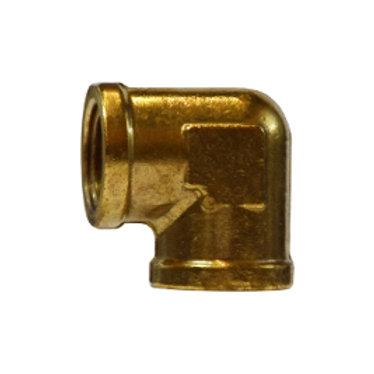 """Pipe Fitting - 90° Female Elbow - 1/4"""" FPT x 1/4"""" FPT - Forged Brass"""