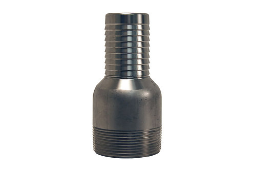 """Jump Size King Combination Nipple - 1"""" Hose Shank x 1-1/4"""" MPT - Plated Steel"""