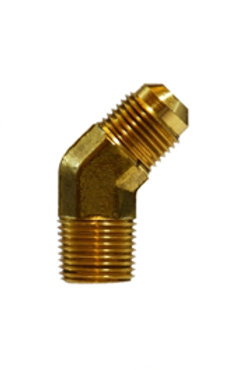 """SAE 45° Flare Fitting - 45° Elbow - 5/8"""" Male Flare x 3/8"""" Male Pipe - Brass"""