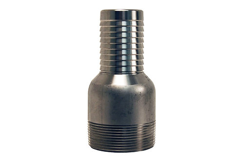 """Jump Size King Combination Nipple - 1-1/2"""" Hose Shank x 2"""" MPT - Stainless Steel"""