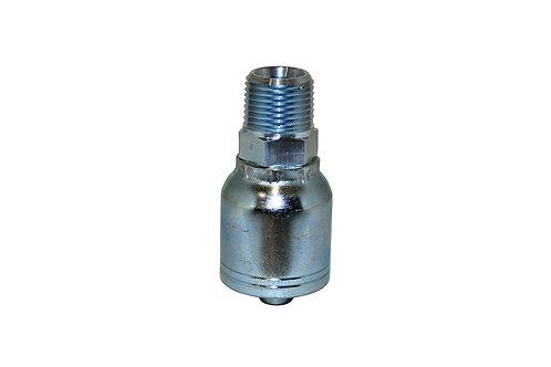 "Hydraulic Crimp Fitting - 3/8"" Male Pipe Thread x 1/4"" Hose Barb - E203"