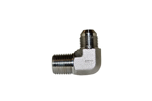 """Hydraulic Adapter - 90° Male Elbow - 1/2"""" Male JIC x 1/2"""" MPT- Stainless Steel"""