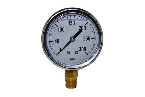 "Liquid Filled Pressure Gauge - 2-1/2"" 0 to 300 PSI - 1/4""NPT - Single Scale"