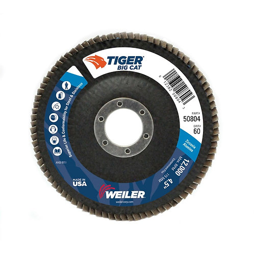 "Big Cat Abrasive - Flap Disc - 4-1/2"" x 7/8"" - High Density Type 27 - 60 Grit"