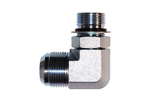"""Hydraulic Adapter - 90° Elbow - 3/8"""" Male JIC x 3/8"""" Male ORB - Steel - 10 PK"""