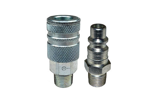 "Industrial Interchange - 3/8"" Coupler - 3/8"" Plug - 1/4"" Male Pipe Threads"