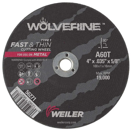 """Cutting Wheel - Wolverine - Type 1 - 4"""" x .035"""" - 5/8"""" Arbor - A60T 60 Grit"""