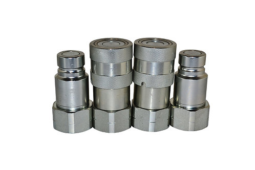 "Hydraulic Quick Coupler - ISO 16028 Flat Face 1/2"" Coupler/Plug x 3/4"" ORB - 2PK"