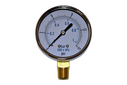 """Utility Dry Gauge - 2-1/2"""" - 0 to 15 PSI - LM 1/4"""" NPT"""