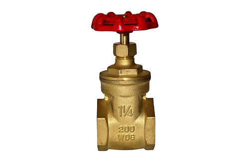 "Gate Valve - 1-1/4"" - Full Port - Brass"