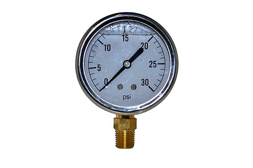"Liquid Filled Pressure Gauge - 2-1/2"" 0 to 30 PSI - 1/4"" NPT - Single Scale"