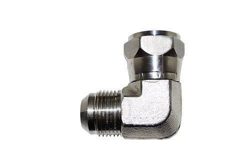 "Hydraulic Adapter 90° Elbow - 3/4"" Male JIC x 3/4"" Female JIC Swivel - Stainless"