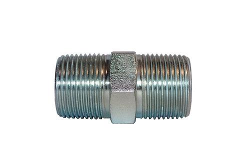 "Hydraulic Adapter - Hex Nipple - 1/4"" MPT x 3/8"" MPT - Plated Steel"