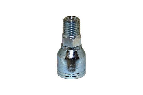 "Hydraulic Crimp Fitting - 1/8"" Male Pipe Thread x 1/4"" Hose Barb - E203"