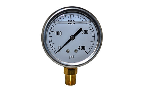 "Liquid Filled Pressure Gauge - 2-1/2"" 0 to 400 PSI - 1/4"" NPT - Single Scale"