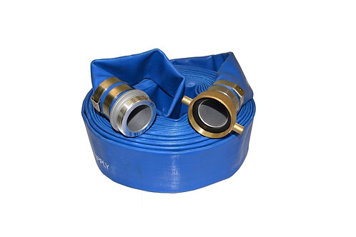 """Water Discharge Hose - 1-1/2"""" x 50 FT - Pin Lug - Blue"""