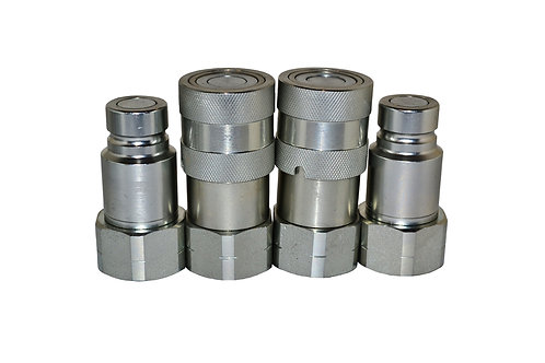 """Hydraulic Quick Coupler - ISO 16028 Flat Face 1/2"""" x 1/2"""" NPT - Complete Set 2PK"""