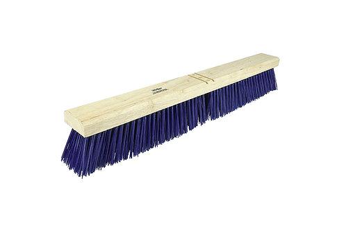 """Contractor Broom - 24"""" Block - Stiff Blue Polypropylene Fill - Includes Brace"""