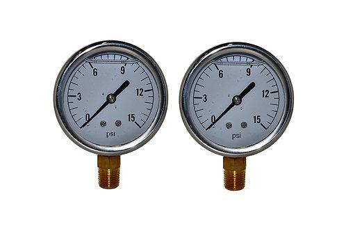 "Liquid Filled Pressure Gauge - 2-1/2"" 0 to 15 PSI - 1/4"" NPT - Single Scale 2 PK"