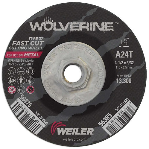 "Cutting Wheel - Wolverine - Type 27 - 4-1/2"" x 3/32"" - 5/8"" -11 UNC A24T 24 Grit"