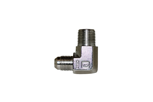 """Hydraulic Adapter - 90° Male Elbow - 3/8"""" Male JIC x 3/8"""" MPT - Stainless Steel"""
