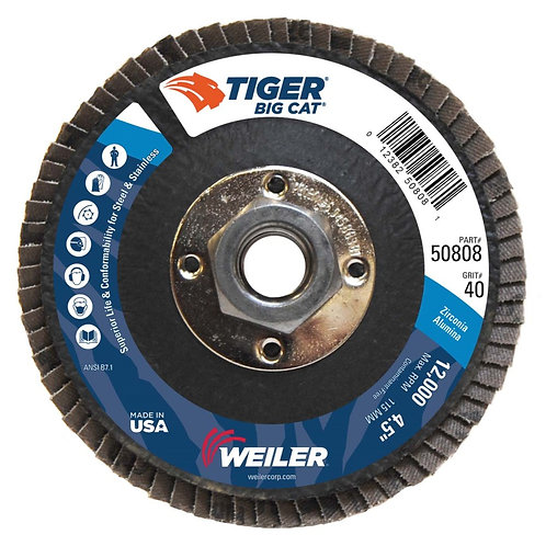 "Big Cat Abrasive - 4-1/2"" x 5/8"" -11 UNC - High Density - Flat Type 27 - 40 Grit"