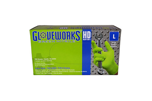 Gloveworks - Heavy Duty - Green Nitrile - 8 mil - Large