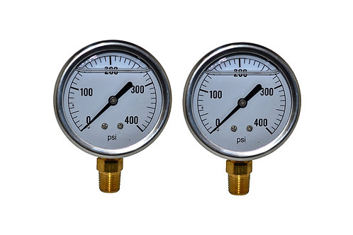 "Liquid Filled Pressure Gauge - 2-1/2"" 0 to 400 PSI - 1/4"" NPT - Single Scale 2PK"