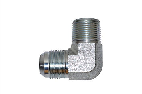"""Hydraulic Adapter - 90° Male Elbow - 3/8"""" Male JIC x 1/2"""" MPT - Plated Steel"""