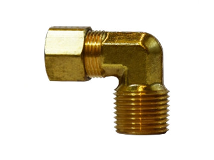 "Compression Fitting - 90° Male Elbow - 3/8"" Compression x 1/2"" Male NPT - Brass"