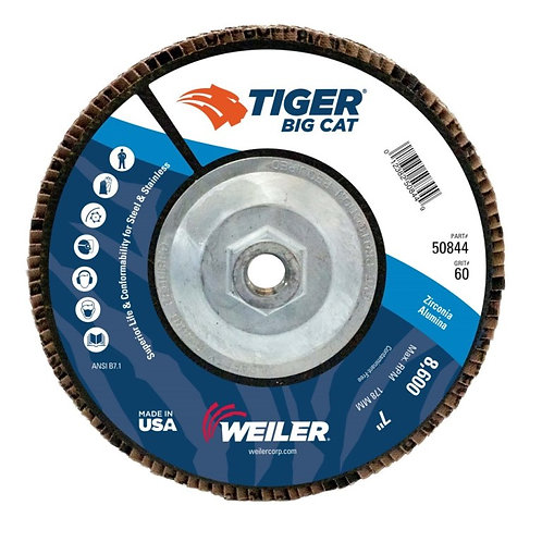 "Big Cat Abrasive - 7"" x 5/8"" -11 UNC - High Density - Flat Type 27 - 60 Grit"
