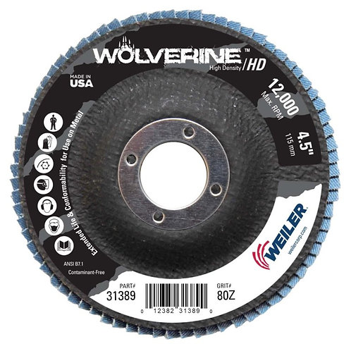 "Wolverine Abrasive - Flap Disc - 4-1/2"" x 7/8"" - High Density Type 27 - 80 Grit"