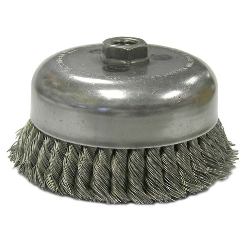 "Knot Wire Cup Brush - Double Row - 6"" - .023"" Steel Fill - 5/8"" -11 UNC Nut"
