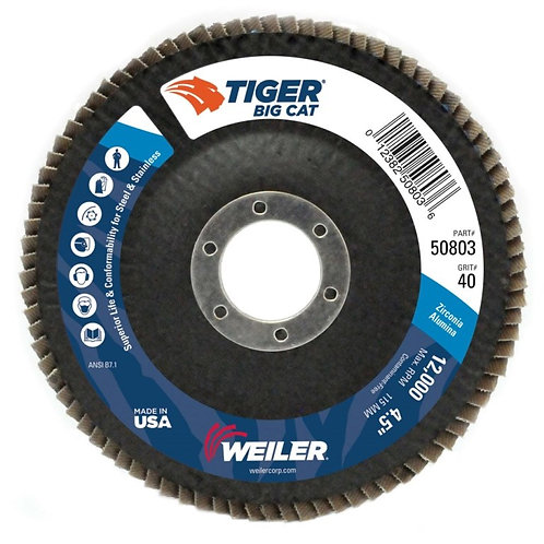 "Big Cat Abrasive - Flap Disc - 4-1/2"" x 7/8"" - High Density Type 27 - 40 Grit"