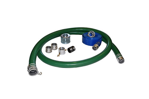 "PVC Green Standard Suction Hose - 1-1/2"" x 20' - Fits Honda - 25' Blue Discharge"