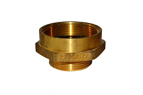 """Fire Hydrant Adapter - 2"""" Female NPT x 1-1/2"""" Male NST/NH - Brass"""