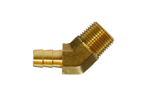 """Hose Barb Fitting - 45° Elbow - 1/4"""" Hose I.D. x 1/4"""" Male Pipe - Brass"""