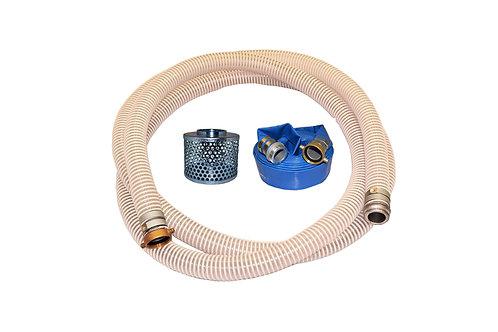 "PVC Flexible Clear Suction Hose - 2"" x 20' - Pin Lug Kit - 50' Blue Discharge"