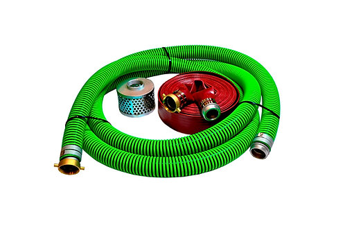 """EPDM Rubber Suction Hose - 2"""" x 20' - Pin Lug Kit - 50' Red Discharge"""