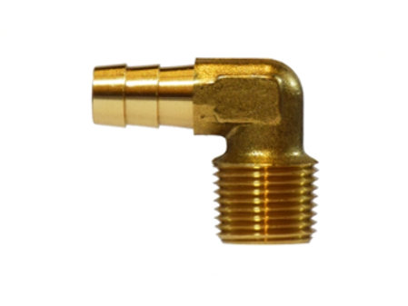 "Hose Barb Fitting - 90° Elbow - 1/4"" Hose I.D.x 1/8"" Male Pipe - Forged Brass"