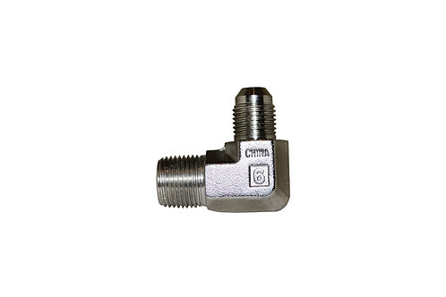 "Hydraulic Adapter - 90° Male Elbow - 3/8"" Male JIC x 3/8"" MPT - Stainless Steel"