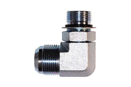 "Hydraulic Adapter - 90° Elbow - 3/8"" Male JIC x 1/4"" Male ORB - Plated Steel"