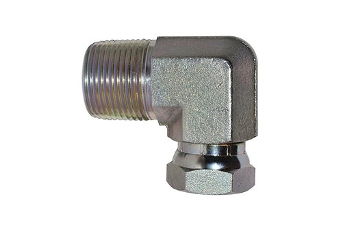 "Hydraulic Adapter - 90° Elbow - 1/4"" MPT x 1/4"" Female Pipe Swivel - Steel"