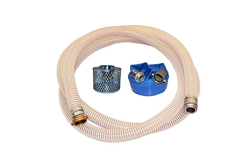 "PVC Flexible Clear Suction Hose - 3"" x 20' - Pin Lug Kit - 50' Blue Discharge"