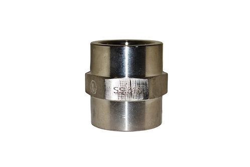 "Hydraulic Adapter - Pipe Coupler - 3/4"" FPT x 3/4"" FPT - Stainless Steel"
