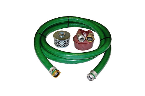 """PVC Green Standard Suction Hose - 1-1/2"""" x 20' - Pin Lug Kit - 50' Red Discharge"""