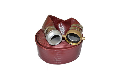 """Water Discharge Hose - 1-1/2"""" x 50 FT - Pin Lug - Red"""