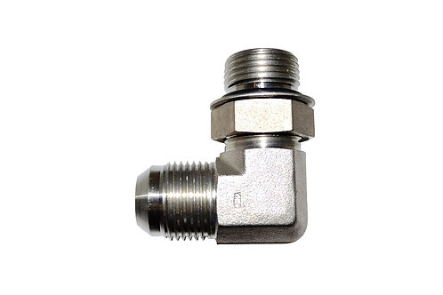 """Hydraulic Adapter - 90° Elbow - 3/4"""" Male JIC x 3/4"""" Male ORB - Stainless Steel"""