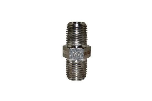 "Hydraulic Adapter - Hex Nipple - 1/4"" Male NPT x 1/4"" Male NPT - Stainless Steel"